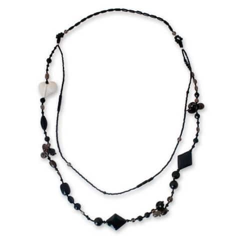 "Handmade Silver 'Love Night' Multi-gemstone Necklace (Thailand) - 33.0"" L x 0.6"" W"
