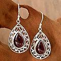 Handmade Sterling Silver Vivid Scarlet Red Garnet Hook Earrings (India)