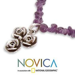 Sterling Silver 'Rose Trio' Amethyst Necklace (India)