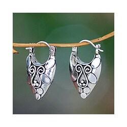 Sterling Silver 'Ubud Legacy' Hoop Earrings (Indonesia)