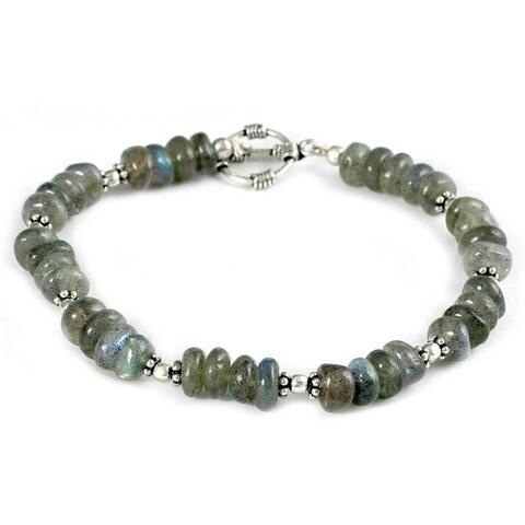 Handmade Sterling Silver 'Indian Rainbow' Labradorite Bracelet (India)
