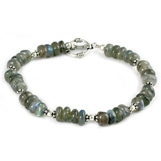 Handmade Sterling Silver 'Indian Rainbow' Labradorite Bracelet (India)