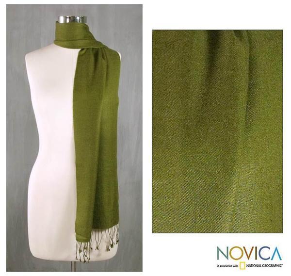 Wool and Silk Blend 'Kashmiri Olive' Scarf (India)