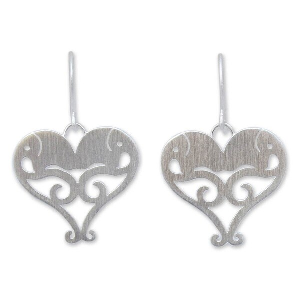Handmade Sterling Silver 'Elephant Sweethearts' Heart Necklace (Thailand)