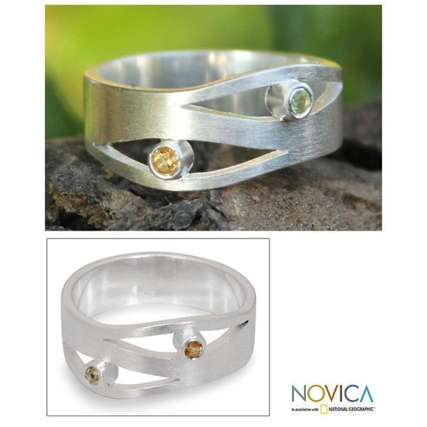 Handmade Sterling Silver 'Revelations' Citrine Peridot Ring (Thailand)