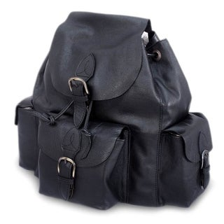 Handmade Leather 'Black Deluxe' Backpack (Mexico)