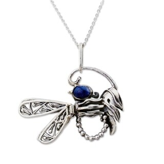 Handmade Sterling Silver 'Andean Dragonfly' Sodalite Necklace (Peru)