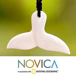 Bone Handcrafted 'Whale Tail' Cotton Necklace (Indonesia)
