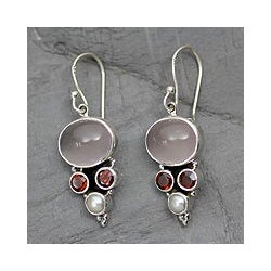 Sterling Silver 'Love' Rose Quartz and Pearl Earrings (3.5 mm) (India)