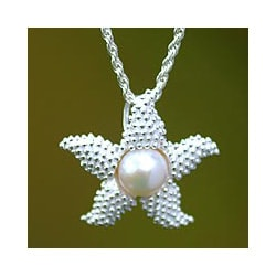 Silver 'Sparkle Starfish' Pearl Necklace (10.5 mm) (Indonesia)