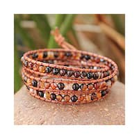 Handmade Agate 'Caramel Sunset' Cotton Bracelet (Thailand)