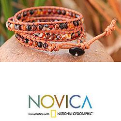 Handcrafted Agate 'Caramel Sunset' Cotton Bracelet (Thailand)