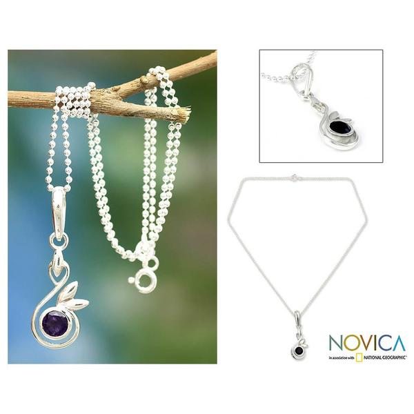 Handmade Sterling Silver 'New Growth' Amethyst Necklace (India)