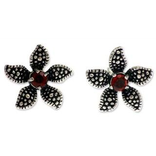 Handmade Sterling Silver 'Timeless Jasmine' Garnet Flower Earrings (Indonesia)