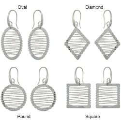 Carolina Glamour Collection Sterling Silver Twisted Rope Design Geometric Earrings