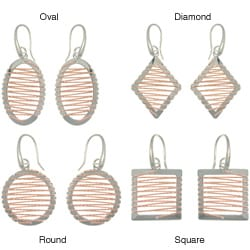 Carolina Glamour Collection Rose Gold and Sterling Silver Twisted Rope Design Geometric Earrings