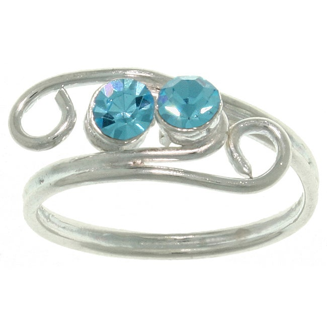 Carolina Glamour Collection High-polish Silver and Turquoise Crystal Swirl Toe Ring