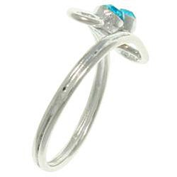 Carolina Glamour Collection High-polish Silver and Turquoise Crystal Swirl Toe Ring - Thumbnail 1