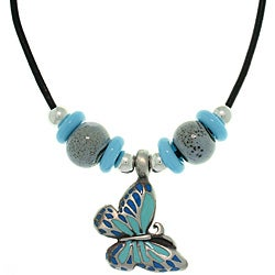 Carolina Glamour Collection Pewter Colored Enamel, Porcelain and Czech Glass Butterfly Necklace
