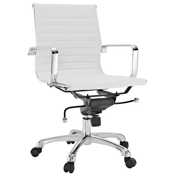 Malibu Mid-back White Vinyl Office Chair