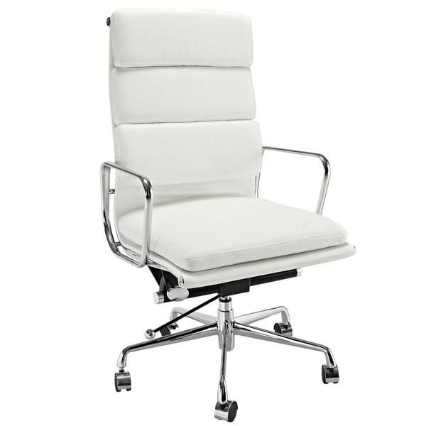 high back white leather executive office chair free