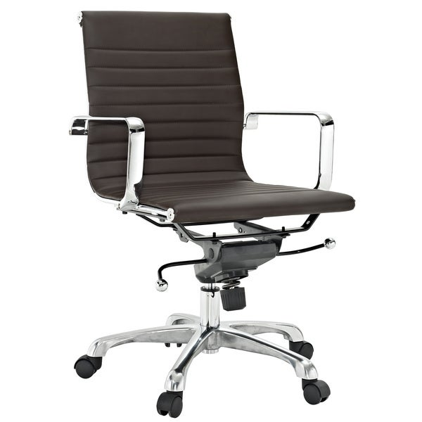Malibu Mid-back Brown Vinyl Office Chair