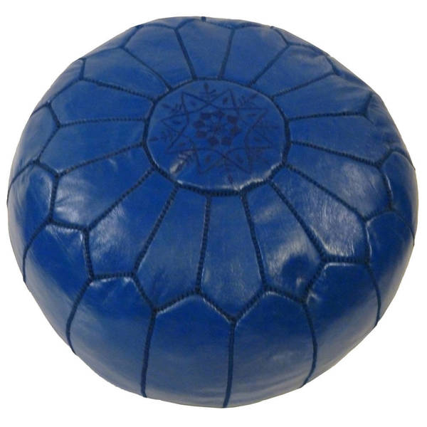 Handmade Blue Moroccan Contemporary Leather Ottoman Pouf (Morocco)