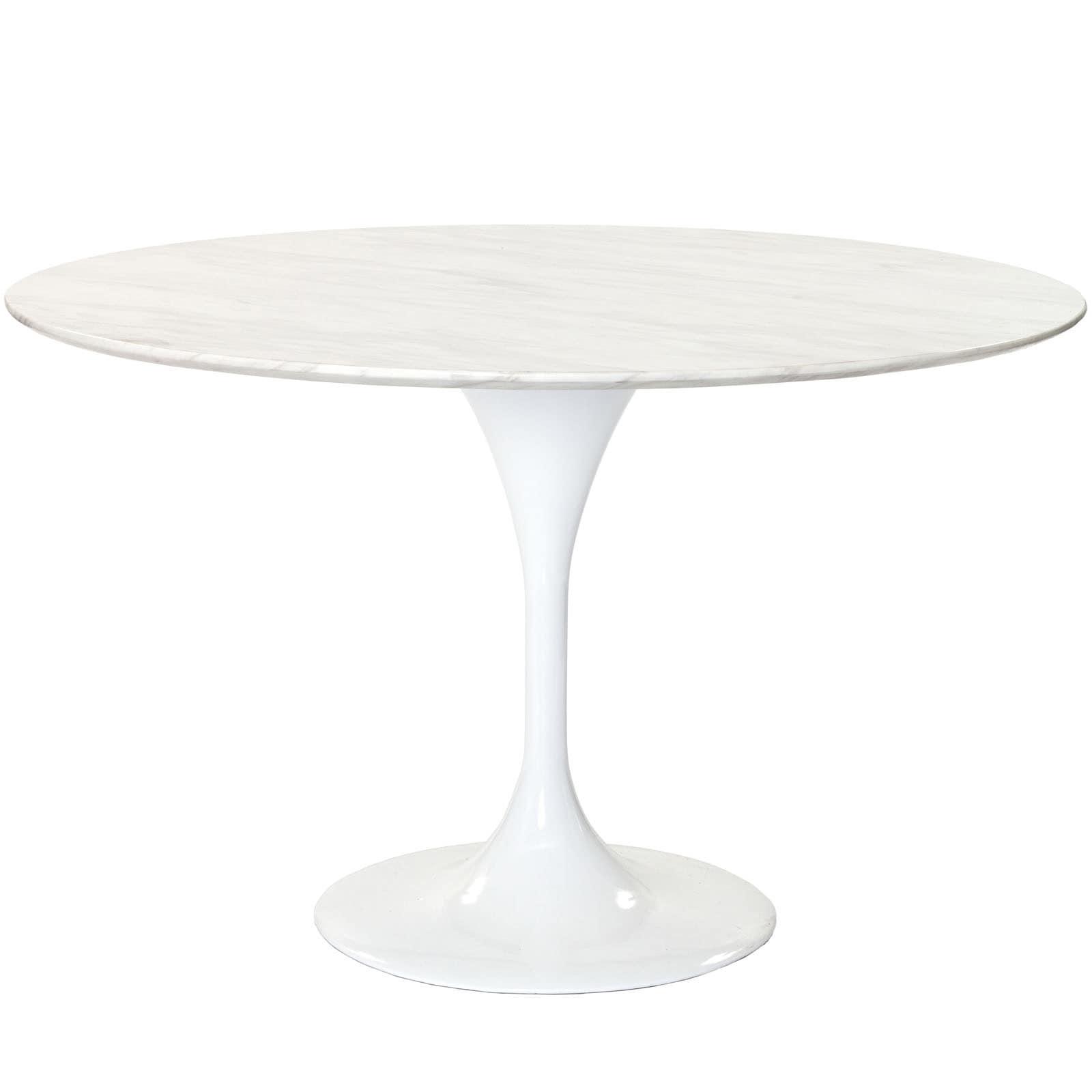 Eero Saarinen Reproduction 48 Inch White Marble Tulip Dining Table