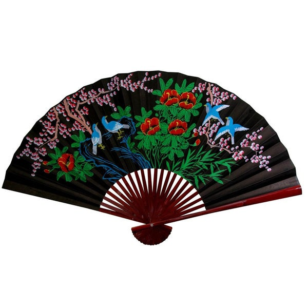 12-inch Wide Black Cherry Blossom Fan (China)