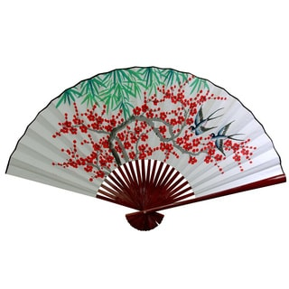Handmade 12-inch Wide White Cherry Blossom Fan (China)