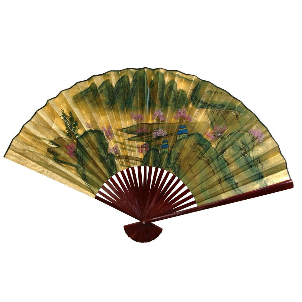 Handmade 12-inch Wide Gold Leaf Mountain Landscape Fan (C...