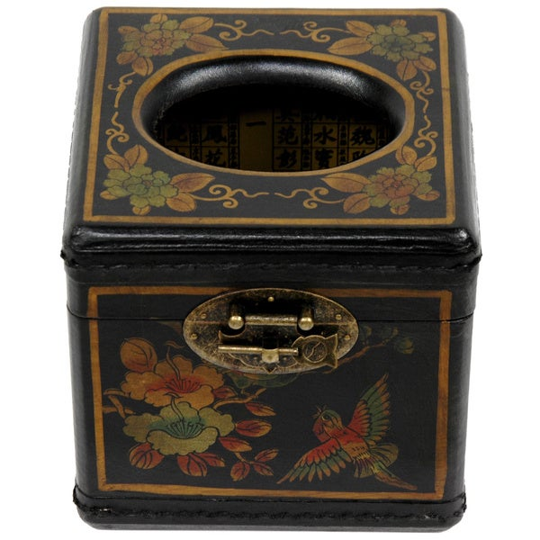 Handmade Black Lacquer Cube Tissue Box (China)