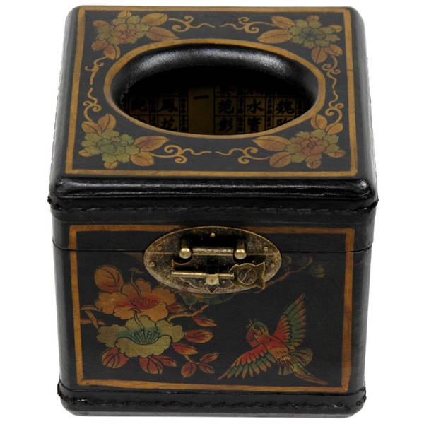 Handmade Black Lacquer Cube Tissue Box (China)