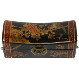 Handmade Lacquer Flowers Pillow Box (China)