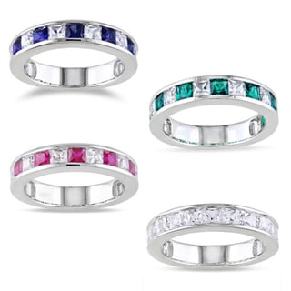 Miadora Sterling Silver 2 1/3ct TGW Created Gemstone Stackable Ring