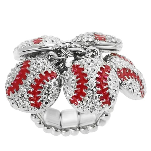Journee Collection Stainless Steel Crystal Baseball Charm Stretch Ring