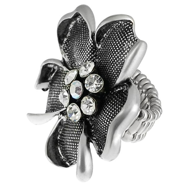 Journee Collection Stainless Steel Crystal Large Flower Stretch Ring