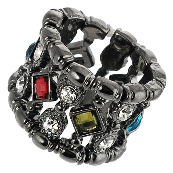 Journee Collection Rhodium-plated Stainless Steel Crystal Stretch Ring