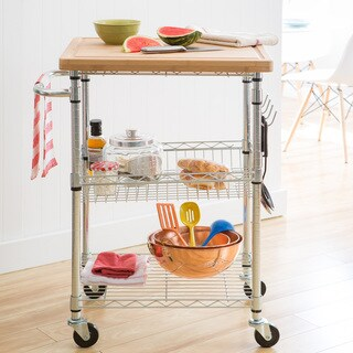 Trinity EcoStorage Chrome Bamboo Top Kitchen Cart