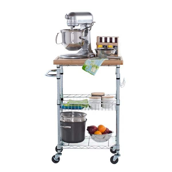 Shop Trinity EcoStorage Chrome Bamboo Top Kitchen Cart ...