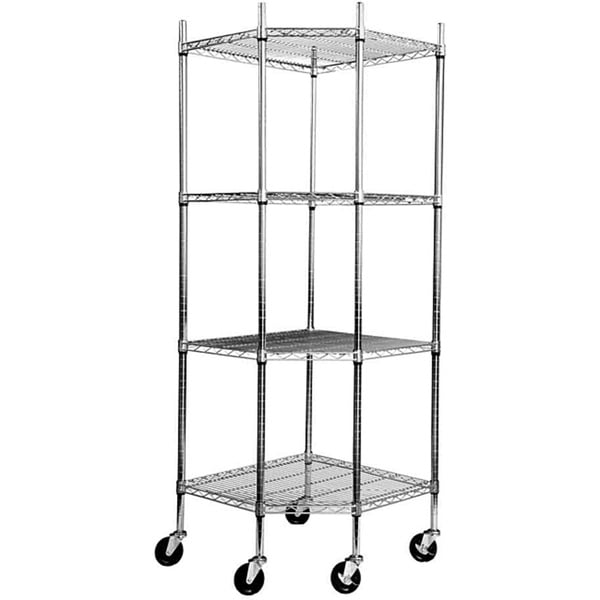 TRINITY EcoStorage 4-tier Chrome Wire Wheeled Corner Shelving Rack