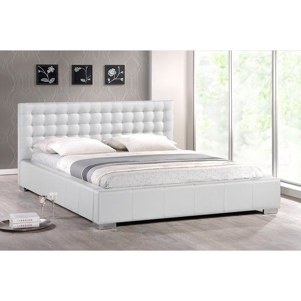 madison white modern queen size platform bed - Modern Queen Bed Frame