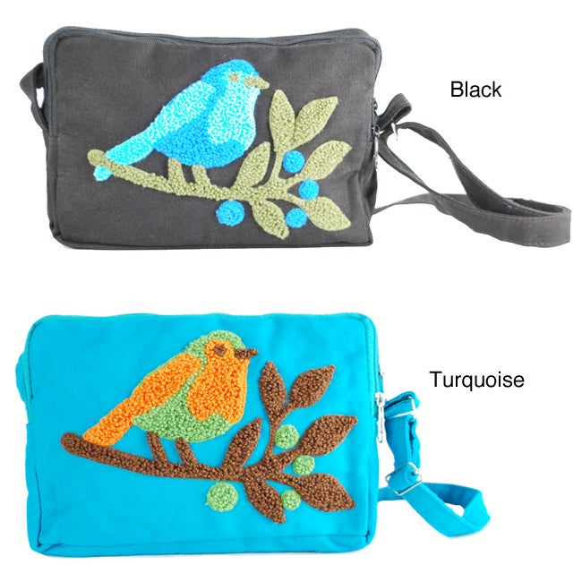 Mini Embroidered 100-percent Cotton Canvas Sparrow Sling Bag