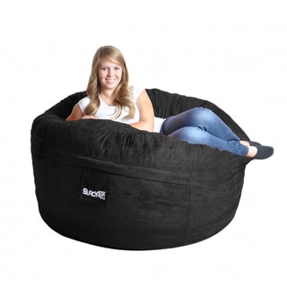 Black Microfiber and Foam Bean Bag Chair (5' round)