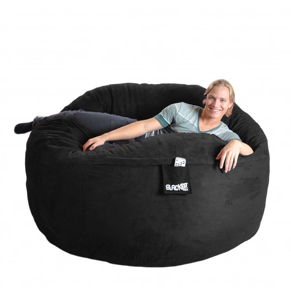 Shop Black Microfiber and Foam Bean Bag Chair (6' round ...