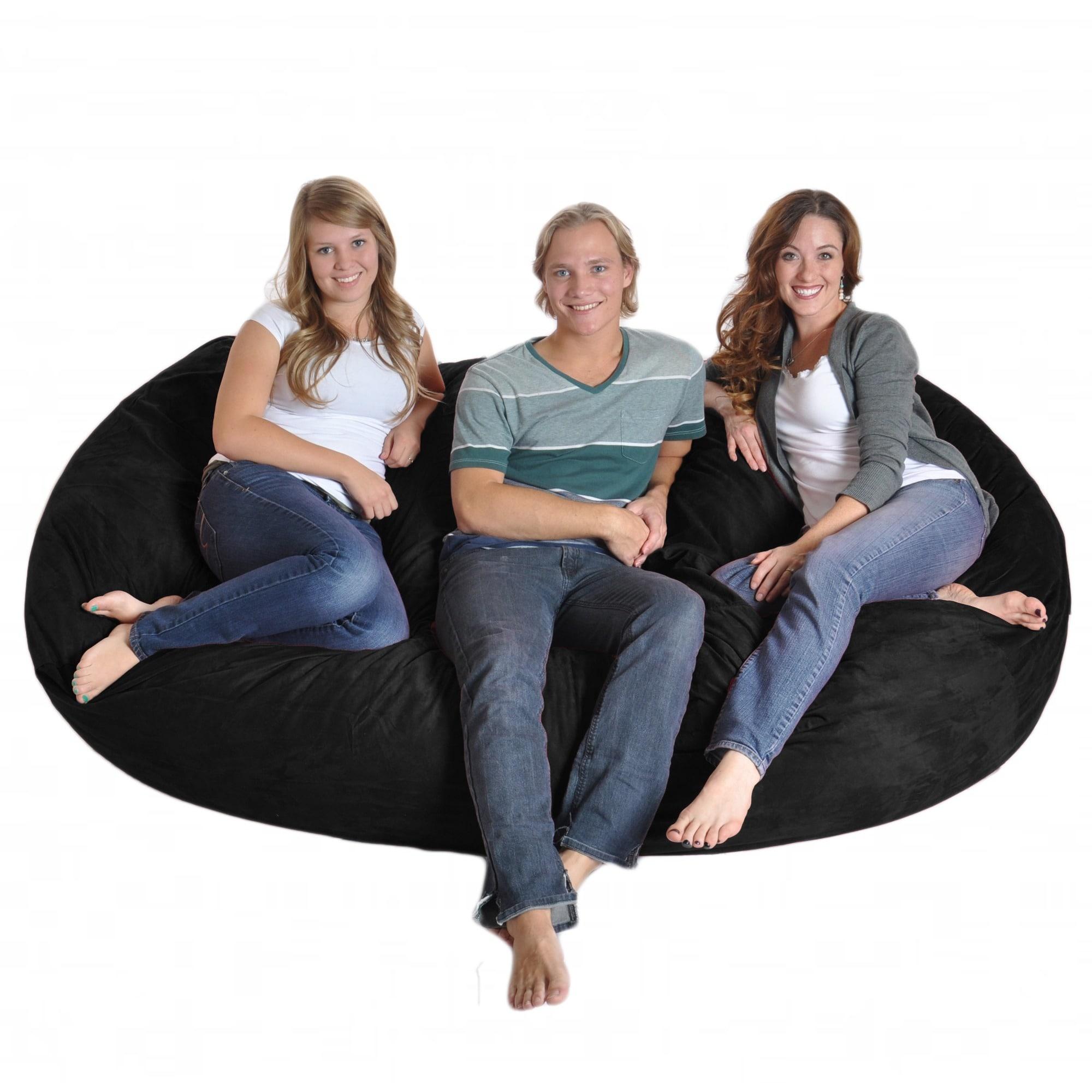 Superb Black Microfiber And Memory Foam Bean Bag Chair 8 Oval Short Links Chair Design For Home Short Linksinfo
