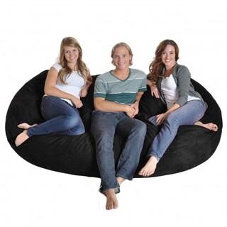 Black Microfiber and Memory Foam Bean Bag Chair (8' Oval)
