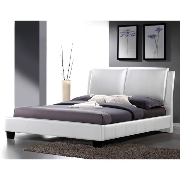 shop sabrina white modern queen size bed with overstuffed headboard free shipping today. Black Bedroom Furniture Sets. Home Design Ideas