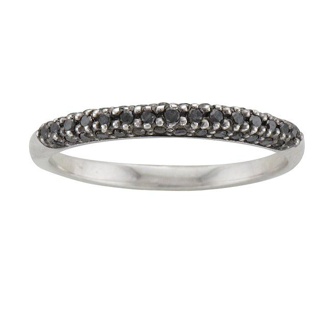 Unending Love Sterling Silver 1/4ct TDW Black Diamond Stackable Ring