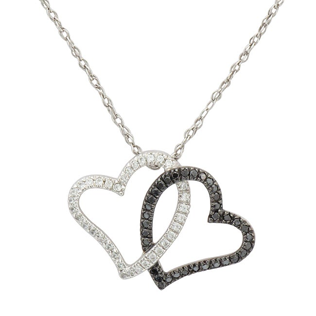 Unending Love Sterling Silver 1/4ct TDW White and Black Diamond Heart Necklace (I-J, I1-I2)